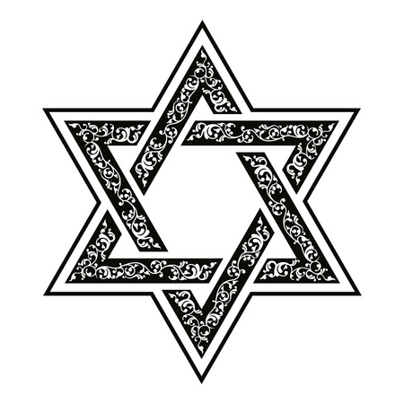 shield of david: Vector hexagonal Star of David with oriental ornaments.