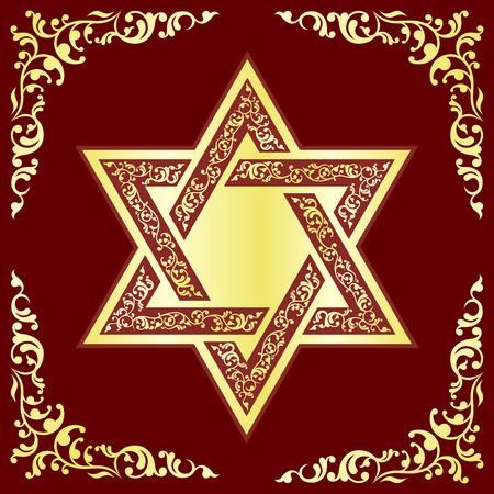 judaic: Vector hexagonal Star of David with gold oriental ornament on burgundy background.