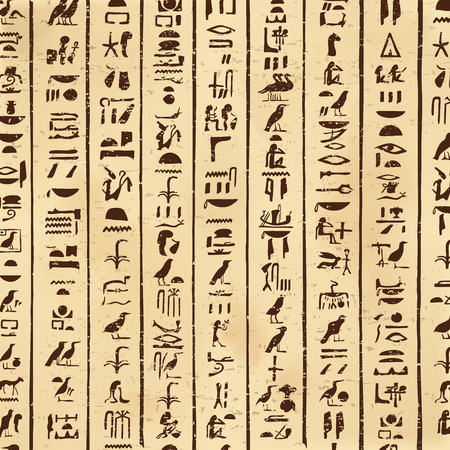 Vector illustration of Egyptian hieroglyphs on a beige background with the effect of aging.