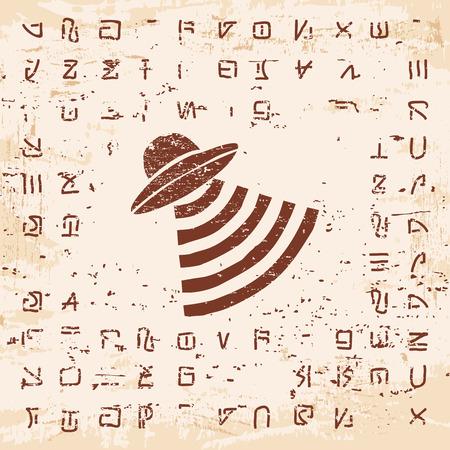?flying saucer?: Ilustración del vector de escritura extranjera, jeroglíficos y el platillo volante en la piedra con el efecto del envejecimiento.