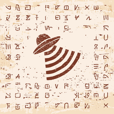 platillo volador: Vector illustration of alien writing, hieroglyphs and the Flying saucer on the stone with the effect of aging.