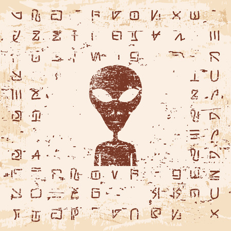 stranger: Vector illustration of alien writing, hieroglyphs and the stranger on the rock with the effect of aging.