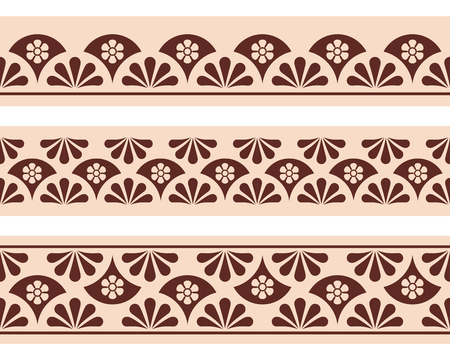 dashes: Set of vector seamless ornament. Brown pattern on a beige background. Illustration