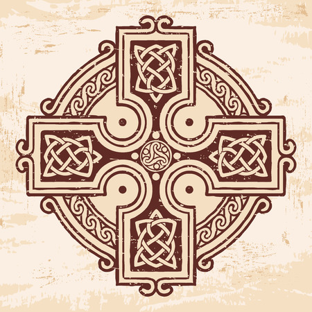 Celtic national ornament in the shape of a cross. Brown drawing with aging effect on a beige background. Illustration