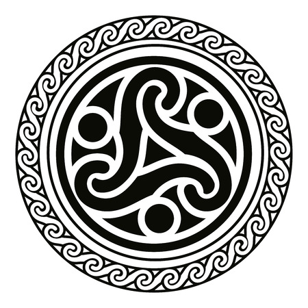 national ornement celtique sous la forme d'un cercle. ornement noir isolé sur fond blanc.