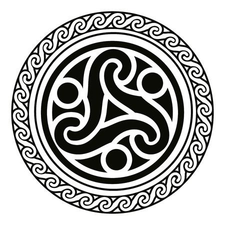 Nazionale ornamento celtica a forma di un cerchio. Nero ornamento isolato su sfondo bianco. Archivio Fotografico - 68632972