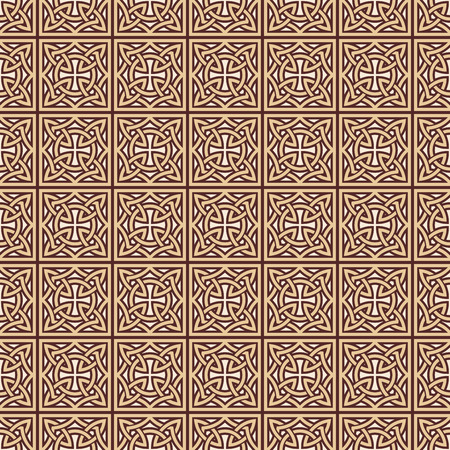 Celtic national ornamental background. Vector seamless drawing. Brown drawing on a beige background.