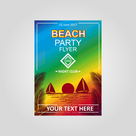 flayer: Vector design template Beach Party flayer. Sunset on the sea.