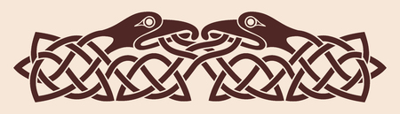 two birds: Celtic national ornament. Two birds looking at each other. Brown drawing on a beige background. Illustration