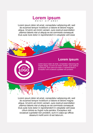 splash page: Abstract vector template design, vertical flayers, brochure, web sites, page, leaflet, with colorful watercolor paint splash