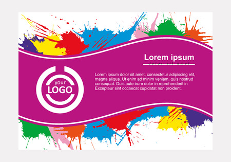 splash page: Abstract vector template design, horizontal flayers, brochure, web sites, page, leaflet, with colorful watercolor paint splash