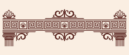 olympus: Vector Greek ornament. Set of vintage national graphic elements with columns and capitals.
