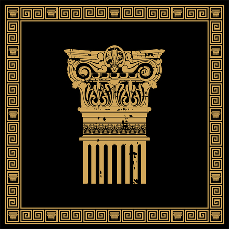arts culture and entertainment: Greek style frame with vintage ornament. Golden pattern on a black background. Illustration