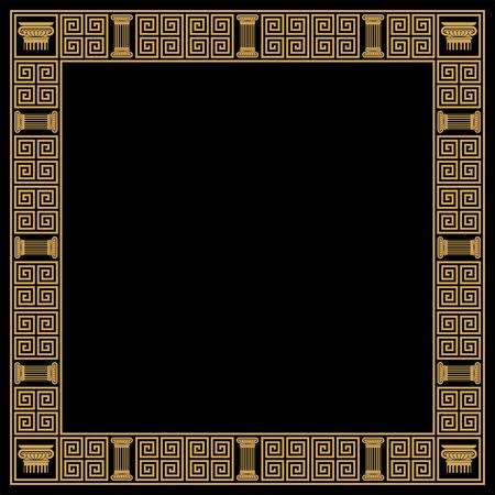 Greek style frame with vintage ornament. Golden pattern on a black background. Vector Illustration