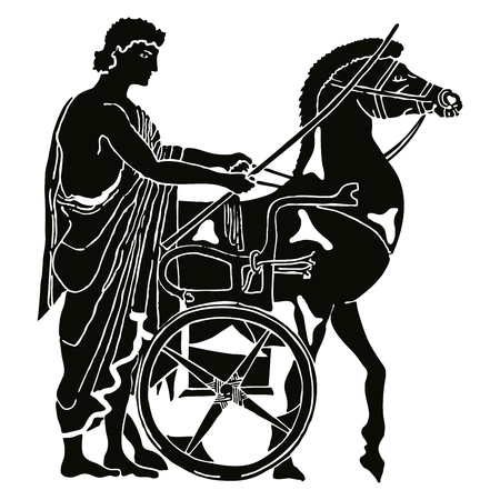Greek style drawing. Warrior in tunic equips horses. Black pattern isolated on white background. Illustration