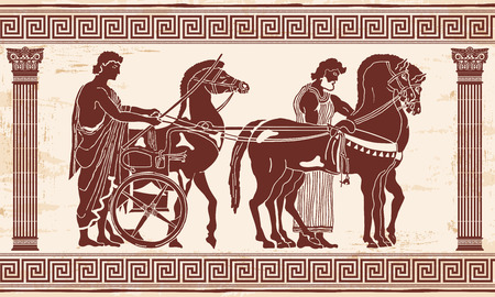Greek style drawing Pano with national ornament. Warrior in tunic equips horses. Illustration