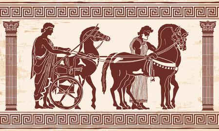 style grec dessin Pano avec l'ornement national. Guerrier en tunique équipe chevaux.