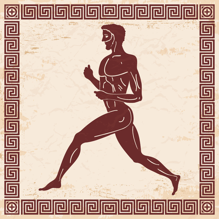 Greek style drawing.  running men and national ornament. Brown drawing with aging effect on a beige background.