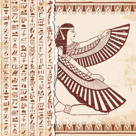 Vector illustration of Egyptian national drawing. Goddess Isis and hieroglyphs. Brown drawing on a beige background with the effect of aging.