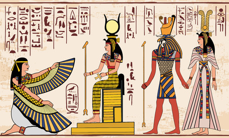 Egyptian national drawing. Stock Illustratie