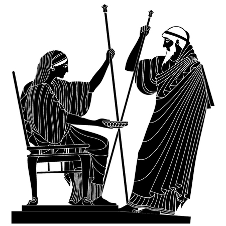hercules: Greek woman holds a cup in his hands and old man with a staff Vector Image.