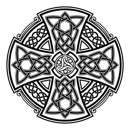 Ornamento nazionale celtico a forma di croce. Ornamento nero isolato su sfondo bianco. Archivio Fotografico - 72986265