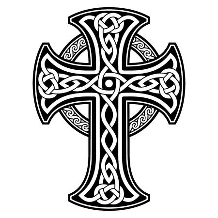 ornamento nacional celta en la forma de una cruz. ornamento negro sobre fondo blanco. Ilustración de vector