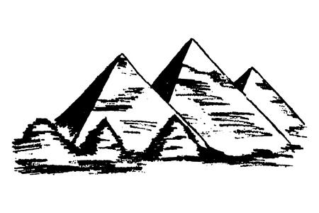 Plain Vector illustration of Egyptian pyramids isolated on white background. Illustration