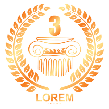 Vector emblem in the Greek style wreath of ears and and capitals of columns. Illustration