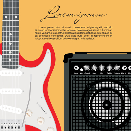 speakers: Guitar and speaker design template. Illustration
