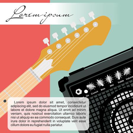 musical score: Guitar and speaker design template. Illustration