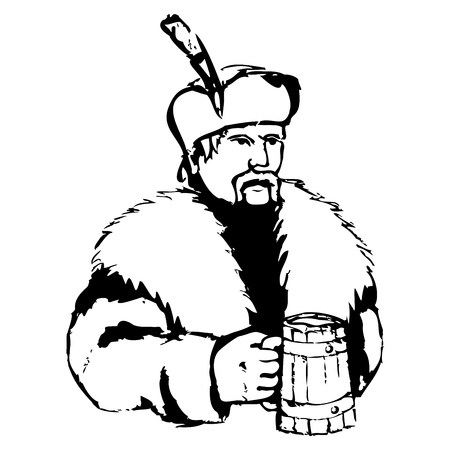 the brewer: Brewer with beer. Illustration