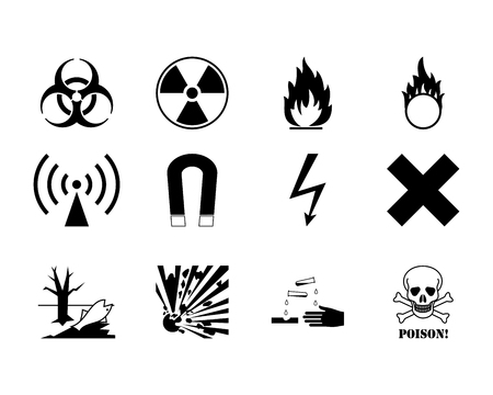 poison: Set of warning danger signs on a white background.