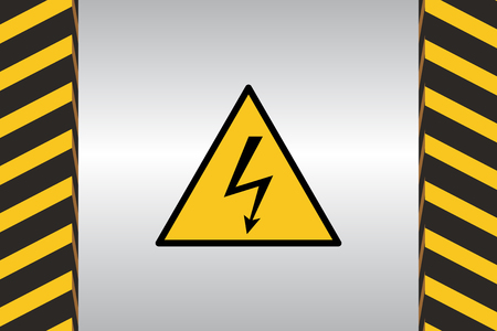 Warning sign of electric danger and dimensional marking. Illustration