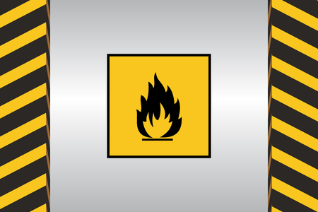 Warning sign of flammable danger and dimensional marking. Illustration