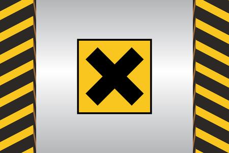Warning sign of Harmful danger and dimensional marking. Illustration