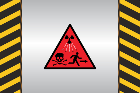 Warning sign of radiation danger and dimensional marking.