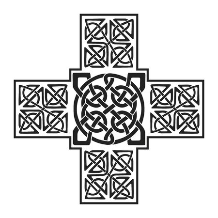 celtic background: Celtic national ornament in the shape of a cross. Black ornament isolated on white background.