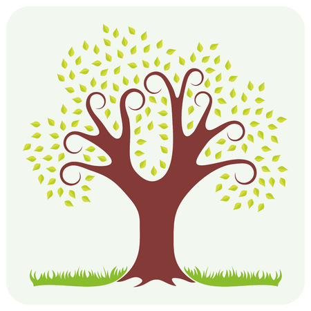 bark: Vector illustration of a spring. One tree with green leaves and grass.
