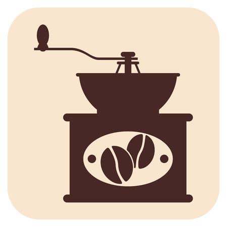 Coffee grinder vector icons, grain, on a beige background Ilustração