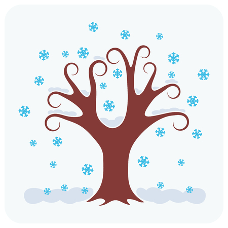 Vector illustration of a winter. One tree and snow. Stock Photo