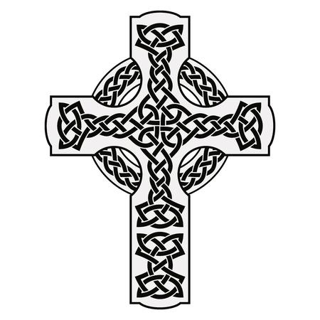 Keltisch nationaal ornament in de vorm van een kruis. Zwart ornament geïsoleerd op een witte achtergrond.