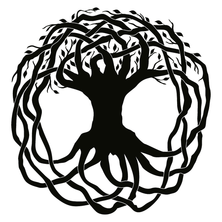 円の形をした葉のあるケルト族の国家の装飾木。白い背景に分離された黒の飾り。