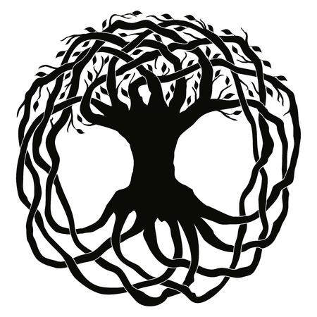 Keltische nationale sierboom met bladeren in de vorm van een cirkel. Zwart ornament geïsoleerd op een witte achtergrond. Stock Illustratie