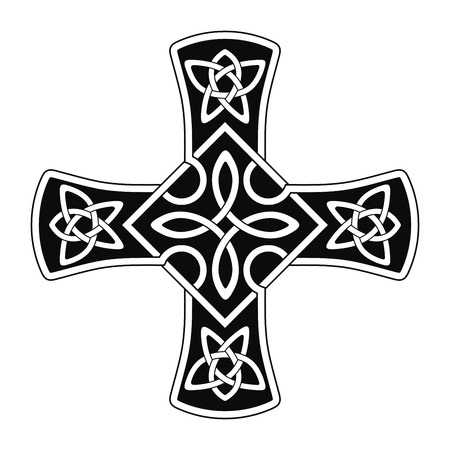 Celtic national ornament in the shape of a cross Illustration
