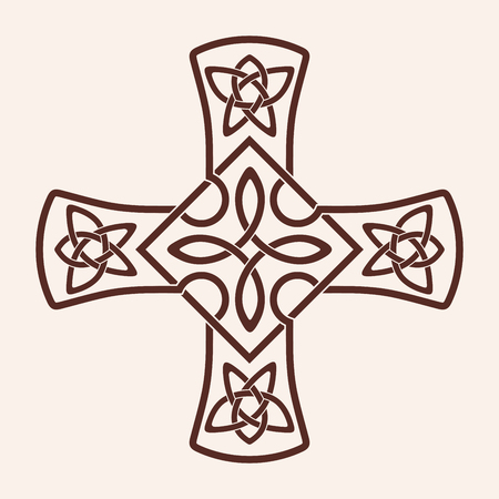 Celtic national ornament in the shape of a cross. Brown pattern on a beige background. Stock Photo