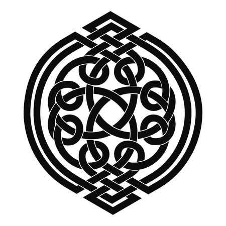 weave: Celtic national ornament interlaced tape. Black ornament isolated on white background.