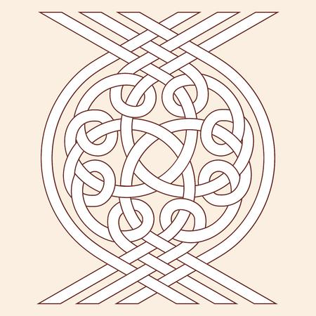 Bande entrelacée d'ornement national celtique. Motif marron sur un fond beige.