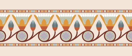 베이지 색 배경에 로터스 꽃 이집트 국립 장식의 원활한 벡터 일러스트 레이 션.