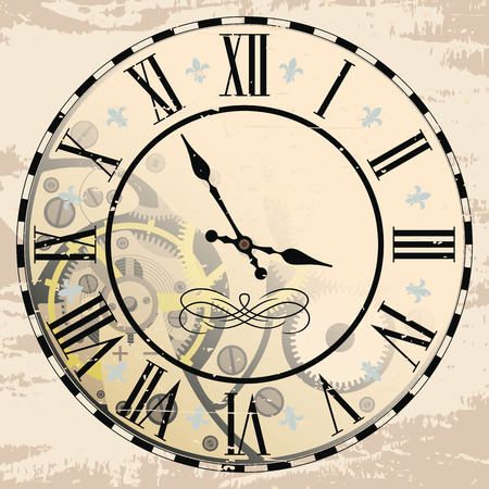 Vintage Roman numeral clock with mechanism. Vector drawing the effect of aging. Ilustração